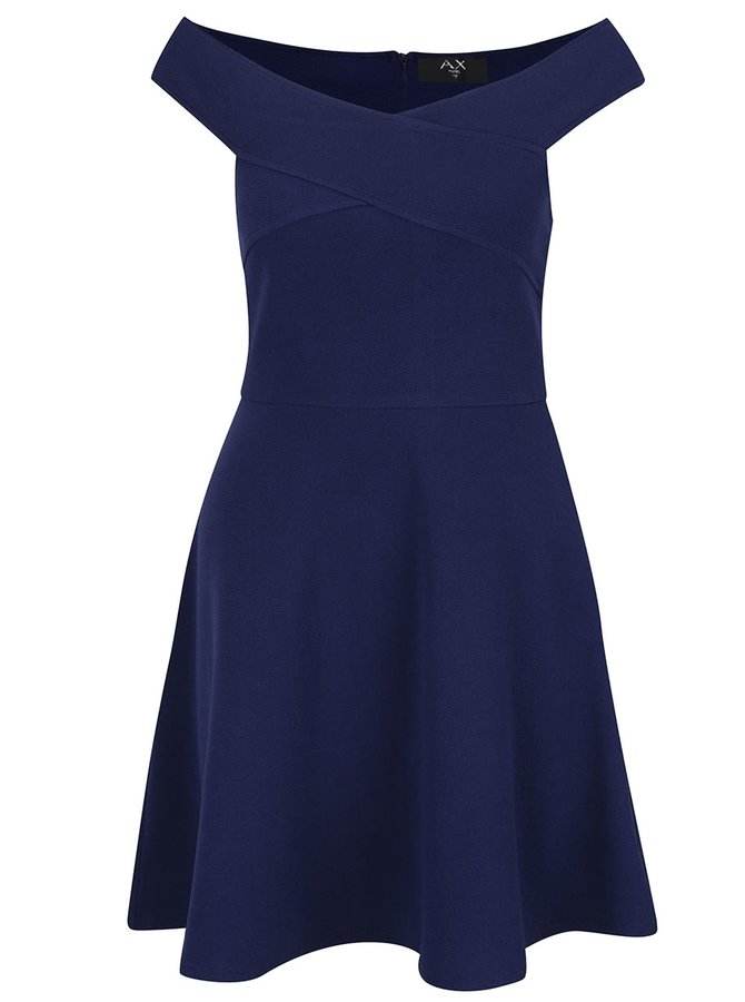 Tmavě modré šaty s odhalenými rameny AX Paris