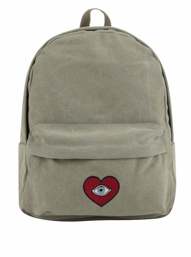 Khaki batoh s nášivkou srdce TALLY WEiJL