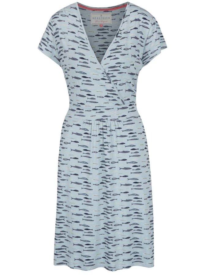 Šedomodré šaty s potiskem ryb Brakeburn