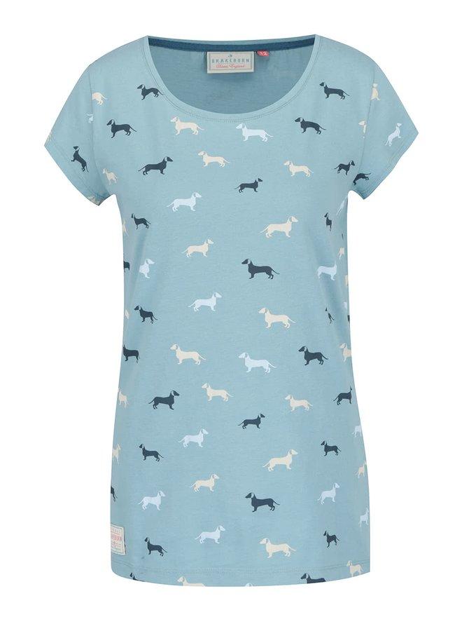 Světle modré tričko se vzorem jezevčíků Brakeburn