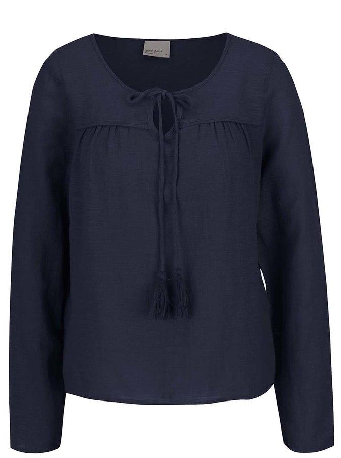 Bluză bleumarin Vero Moda Ina din bumbac