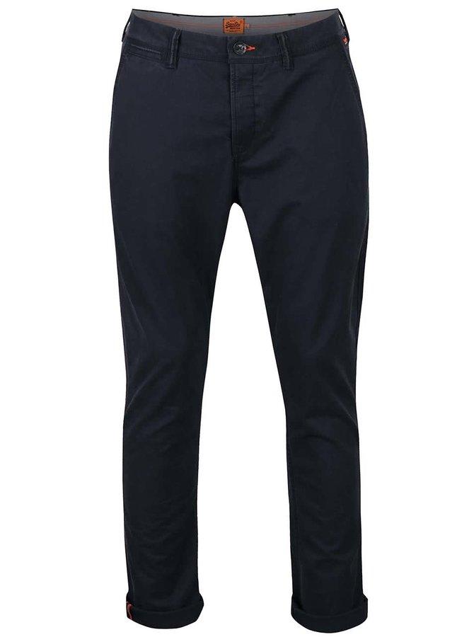 Pantaloni chino albastru închis Superdry din bumbac