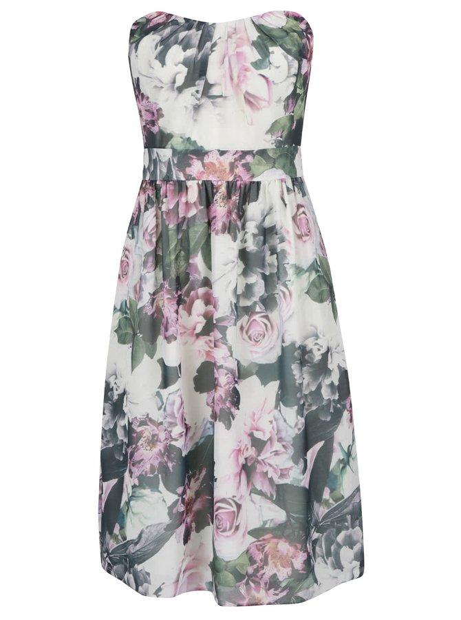 Krémové květované šaty s odhalenými rameny VERO MODA Dionne