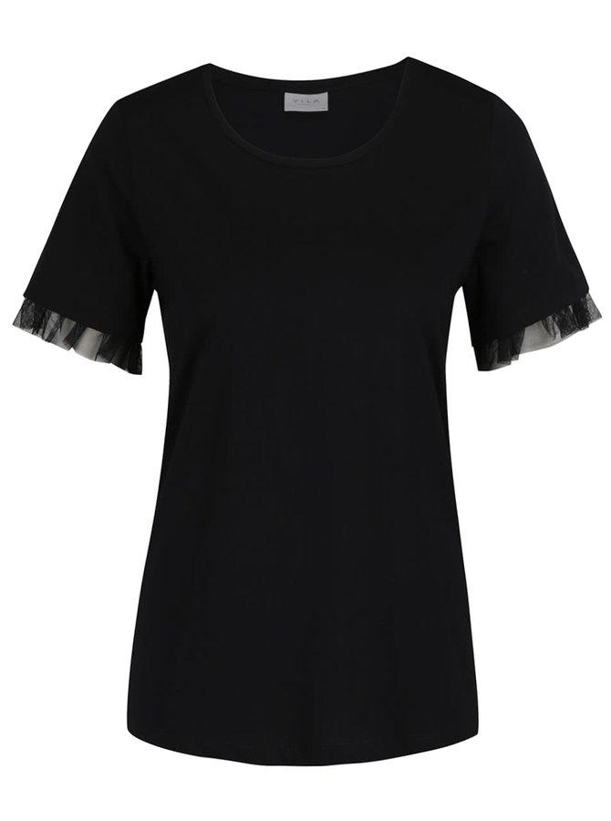 Černé tričko s volány na rukávech VILA Dreamers