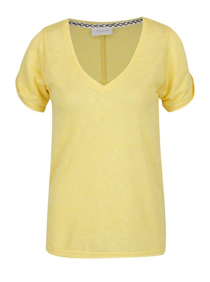 Žluté volné tričko s průstřihy na ramenou VILA Uran