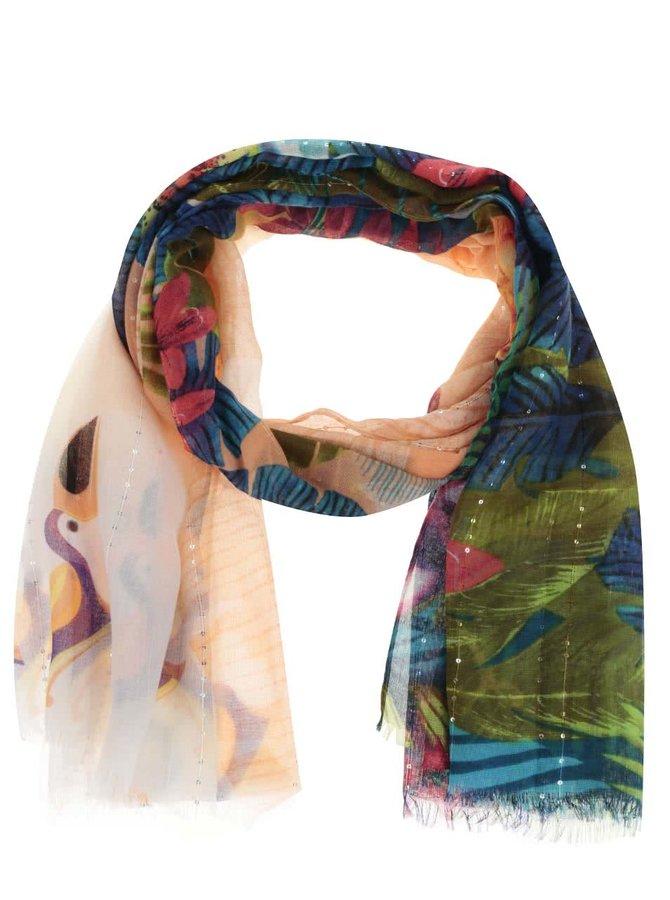 Zeleno-růžový šátek Desigual