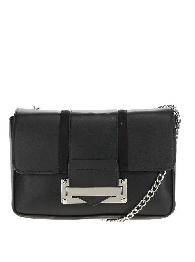 Černá crossbody kabelka s detaily ve stříbrné barvě Dorothy Perkins