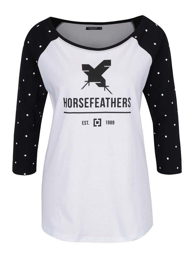 Bluză alb cu negru Horsefeathers Justine cu print