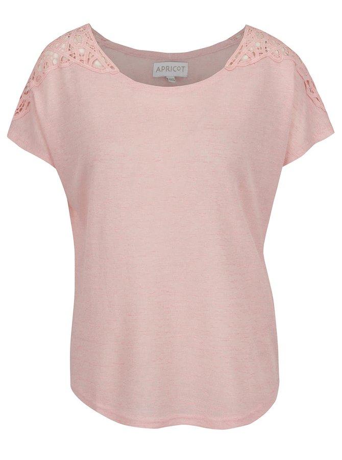 Bluză roz deschis melanj Apricot cu detalii din dantelă