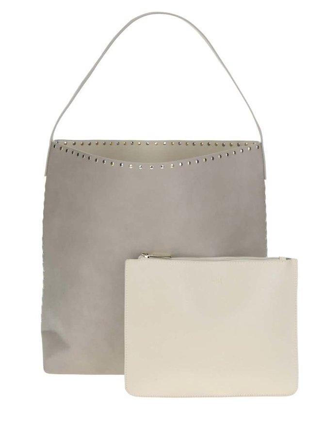 Krémovo-šedý oboustranný shopper s pouzdrem 2v1 Nalí