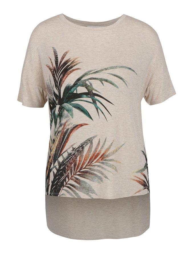 Béžové volné tričko s prodlouženým zadním dílem Apricot