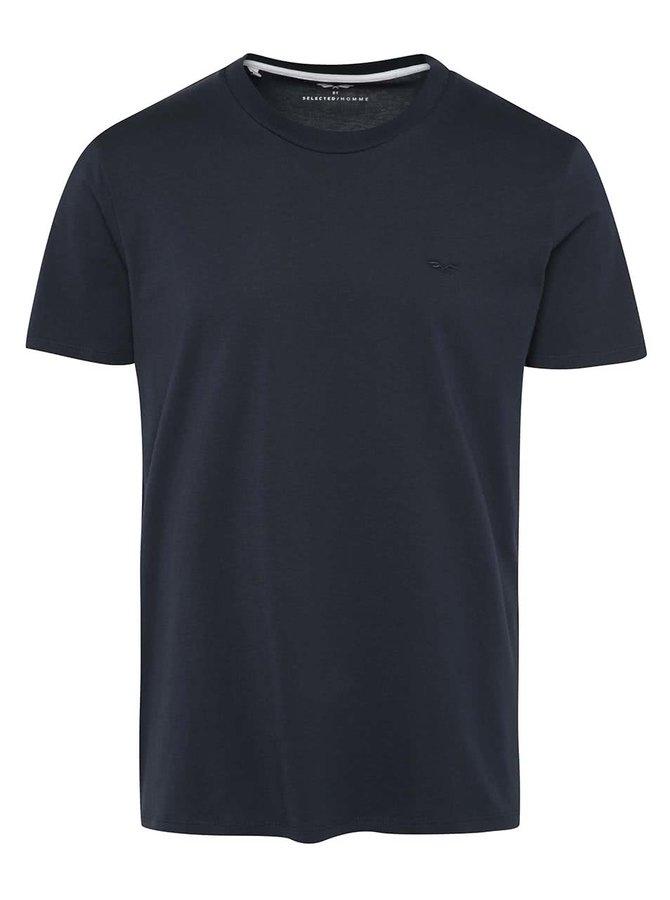 Tricou albastru închis Selected Homme AB Clean din bumbac