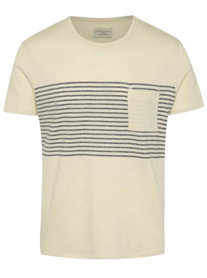 Krémové pruhované triko Selected Homme Jack