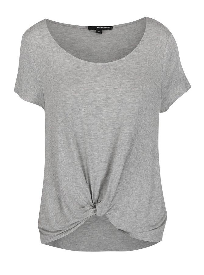 Světle šedé tričko s uzlem TALLY WEiJL