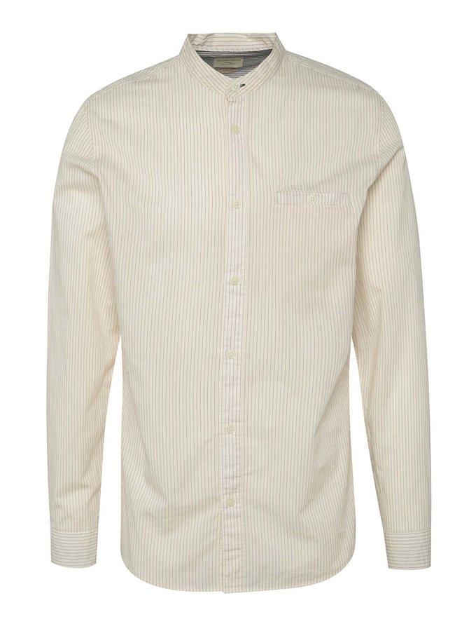 Krémová pruhovaná košile bez límečku Selected Homme One Morton