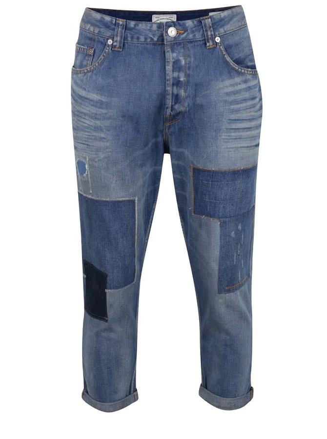 Modré zkrácené džíny se záplatami ONLY & SONS Beam