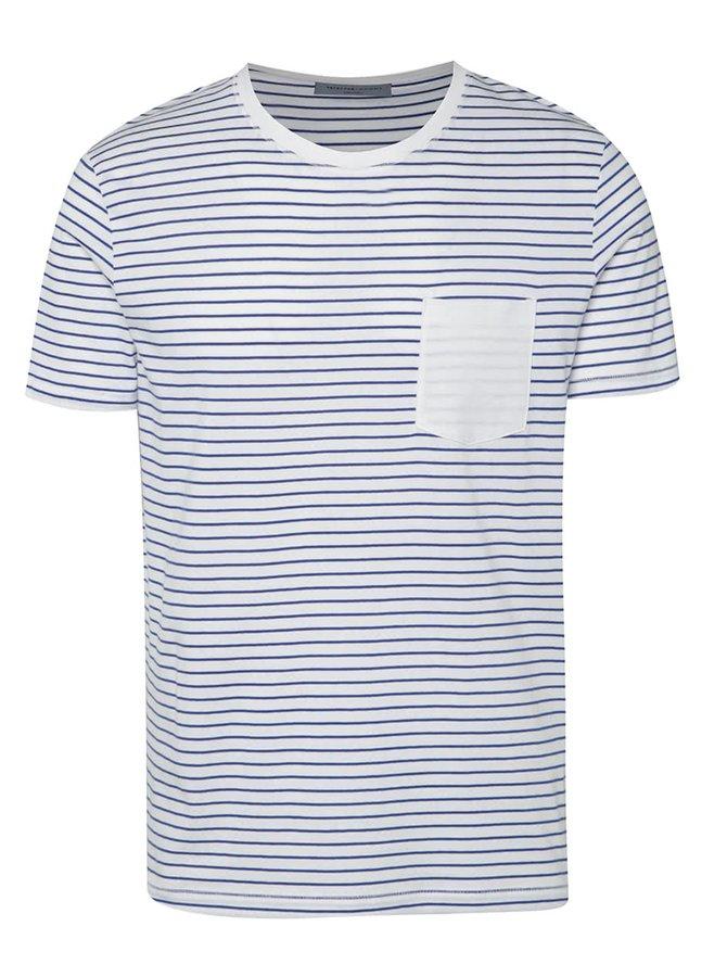 Modré pruhované triko s krátkým rukávem Selected Homme Divan