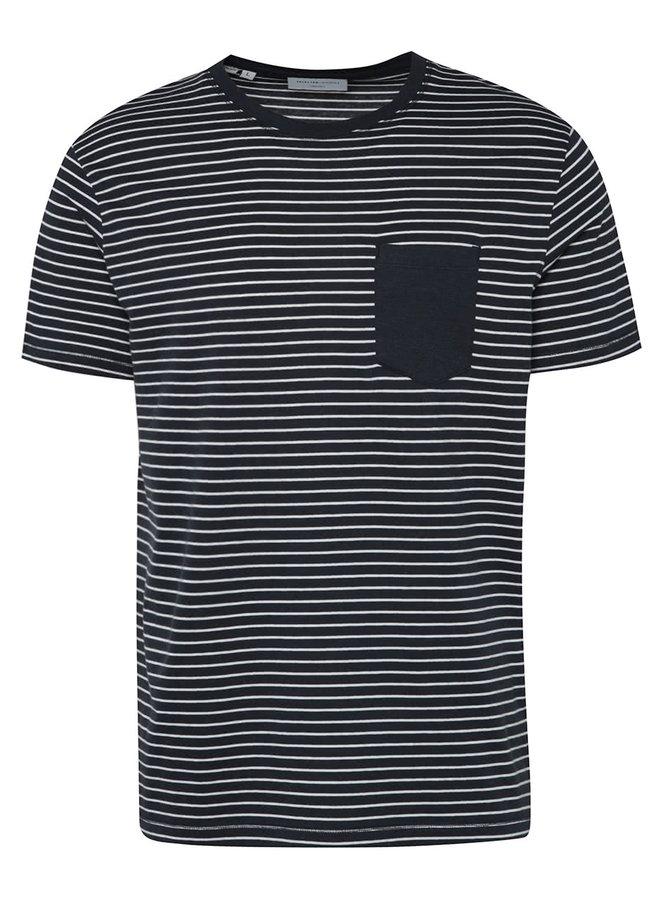 Tmavě modré pruhované triko s krátkým rukávem Selected Homme Divan