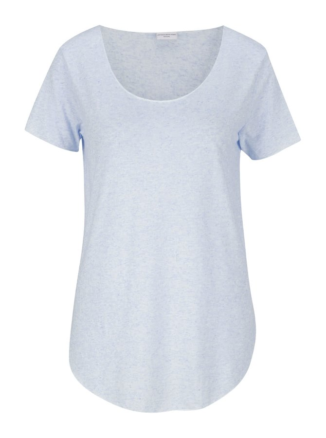 Světle modré žíhané tričko s příměsí lnu Jacqueline de Yong Linette