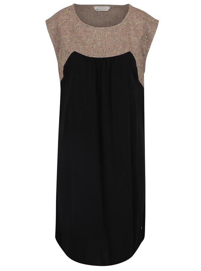 Hnědo-černé šaty se lněným topem Skunkfunk