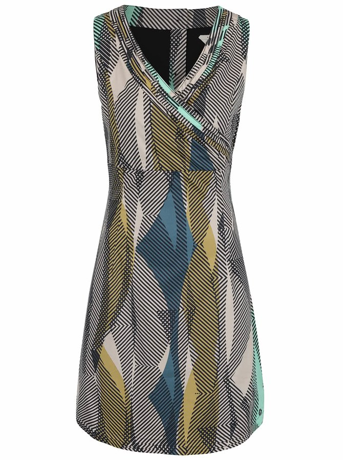Béžové vzorované šaty s překládaným výstřihem Skunkfunk