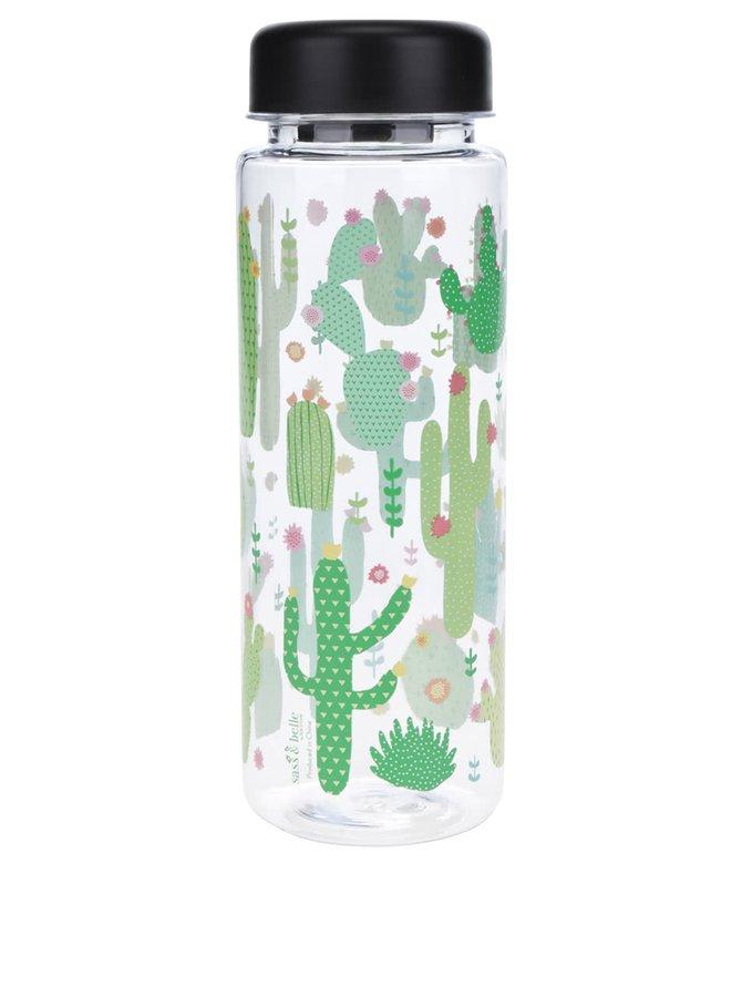 Sticlă transparentă Sass & Belle cu imprimeu cactuși 450 ml