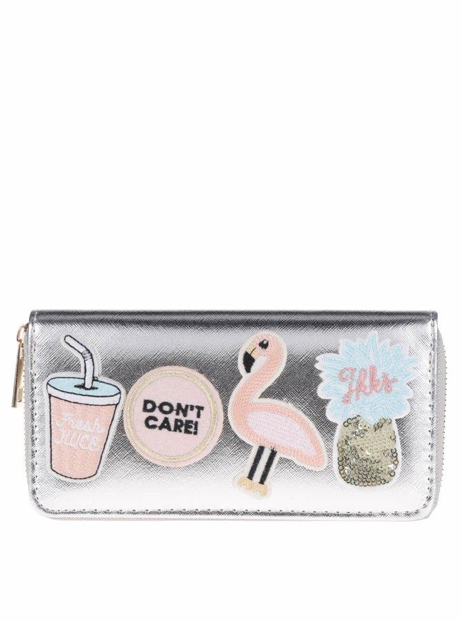 Peněženka ve stříbrné barvě s nášivkami Haily's Shine