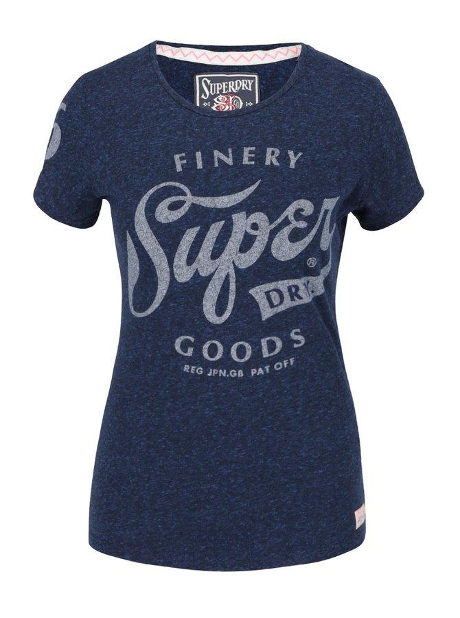 Tmavě modré dámské žíhané tričko s potiskem Superdry