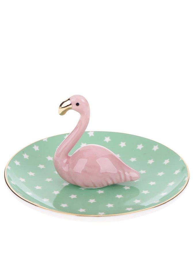 Růžovo-zelený talířek na šperky s plameňákem Sass & Belle