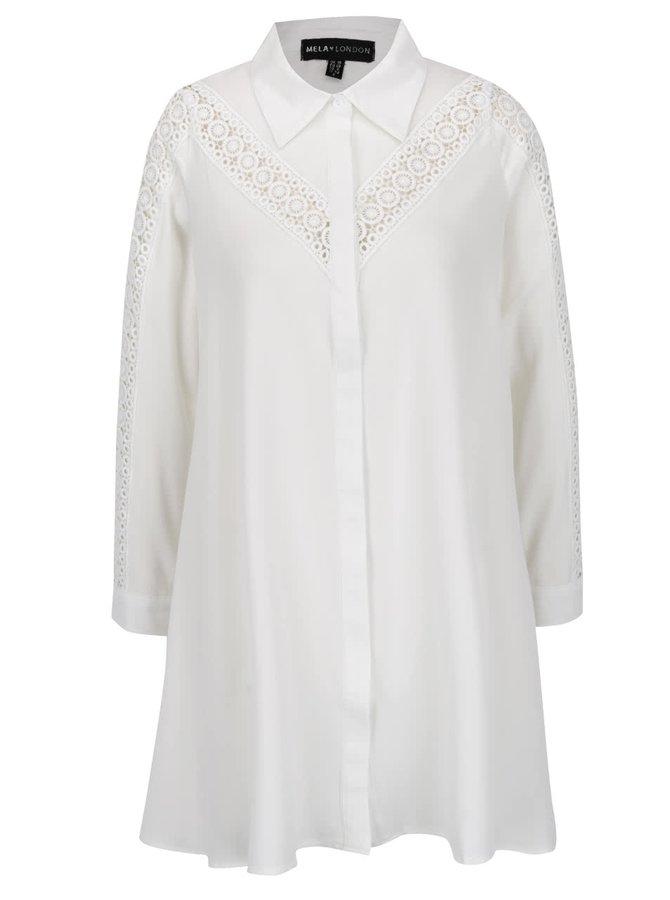 Krémové košilové minišaty s dlouhým rukávem Mela London