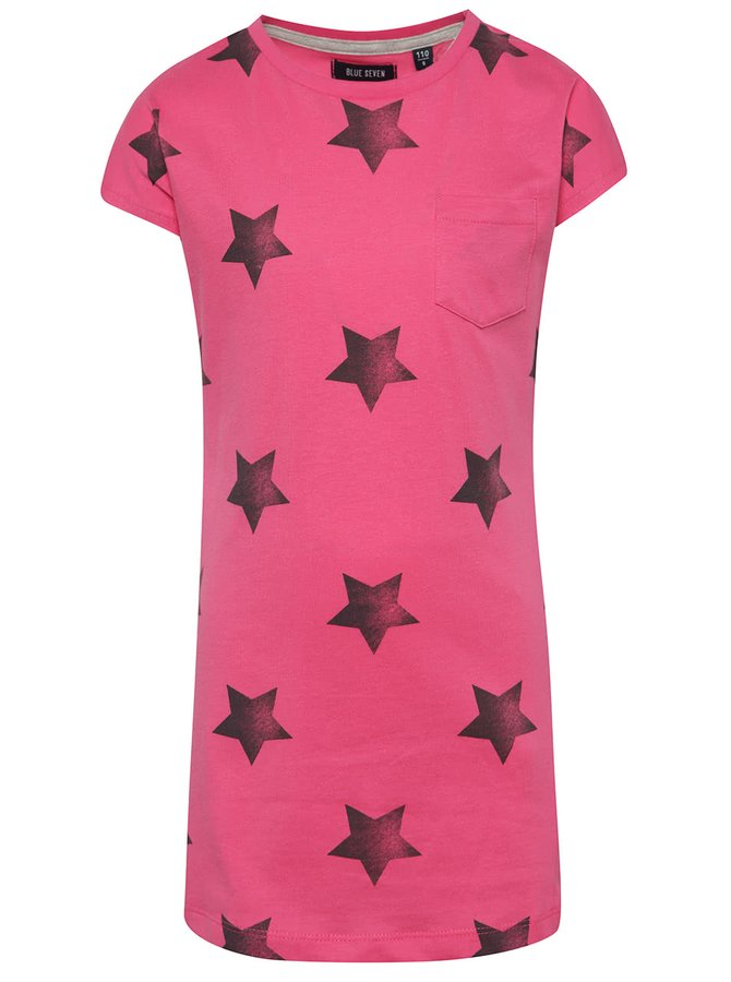 Růžové holčičí šaty s hvězdami Blue Seven
