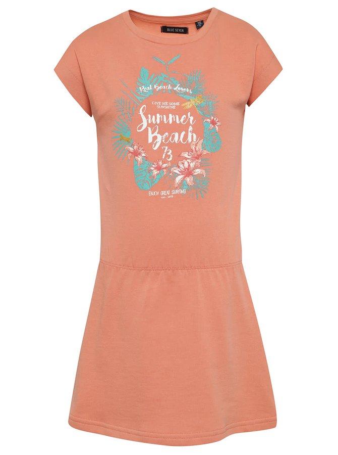 Oranžové holčičí šaty s potiskem Blue Seven