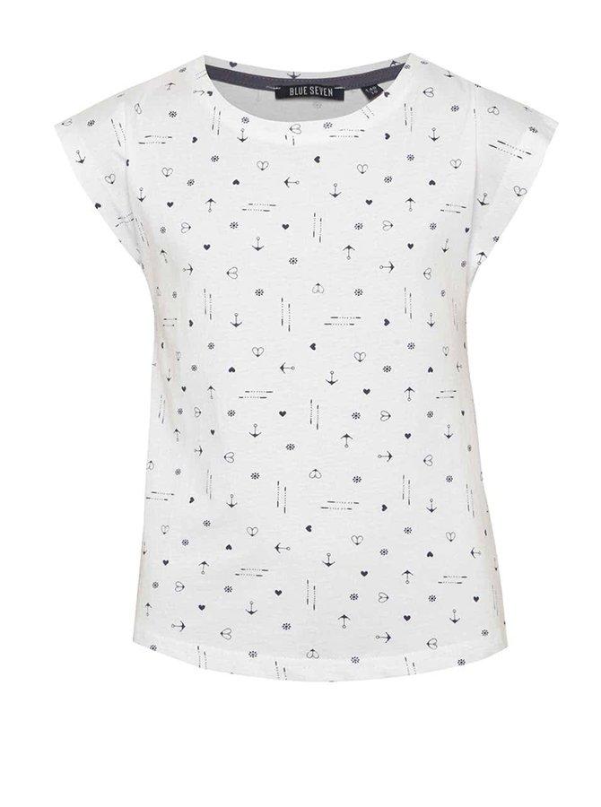 Bílé vzorované holčičí tričko Blue Seven