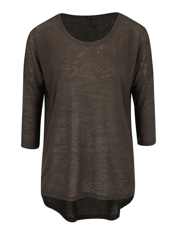 Khaki volné tričko s 3/4 rukávem ONLY Camilla