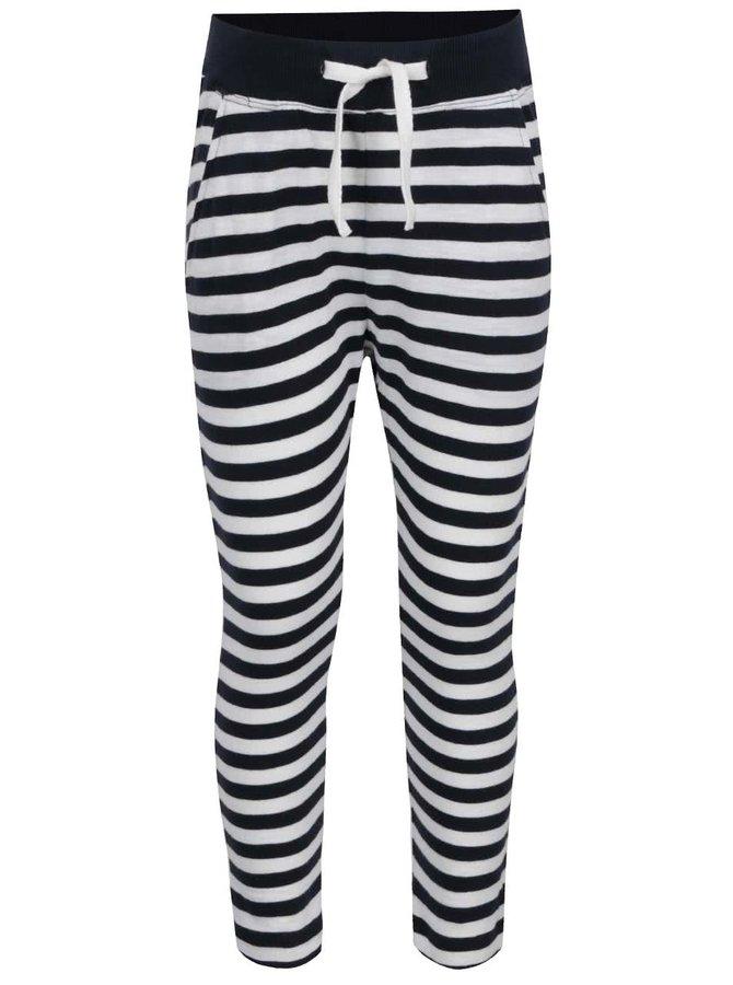 Pantaloni sport alb & albatru închis name it Tisa din bumbac cu model în dungi pentru fete
