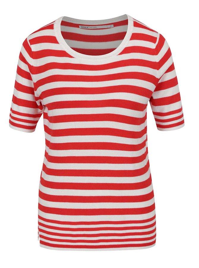 Bílo-červené pruhované tričko ONLY Mila
