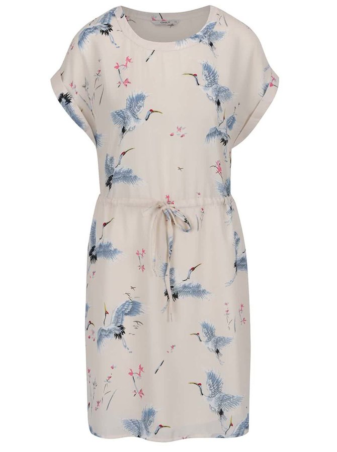 Béžové šaty s motivem ptáků ONLY Cran