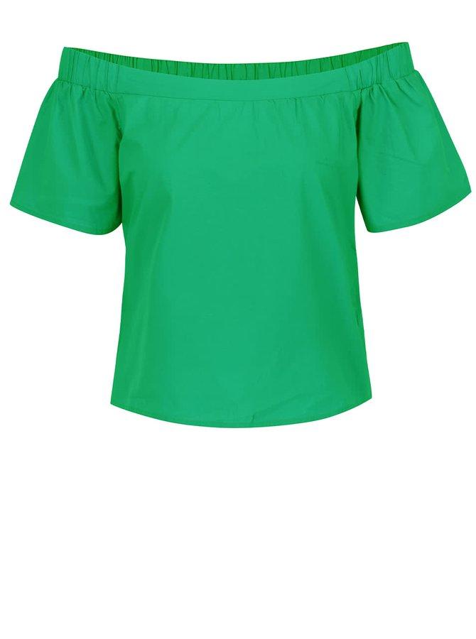Top verde ONLY Pop-Popline cu decolteu pe umeri