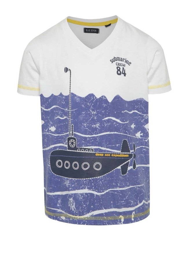 Bílé klučičí tričko s ponorkou Blue Seven