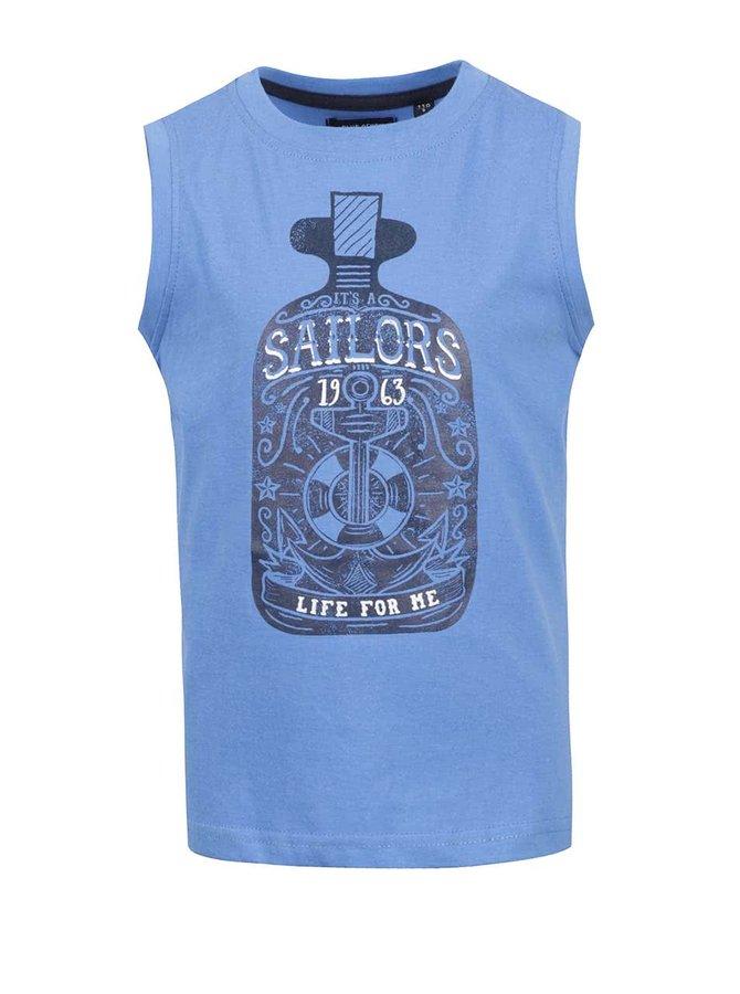 Maiou albastru cu print Blue Seven pentru băieți