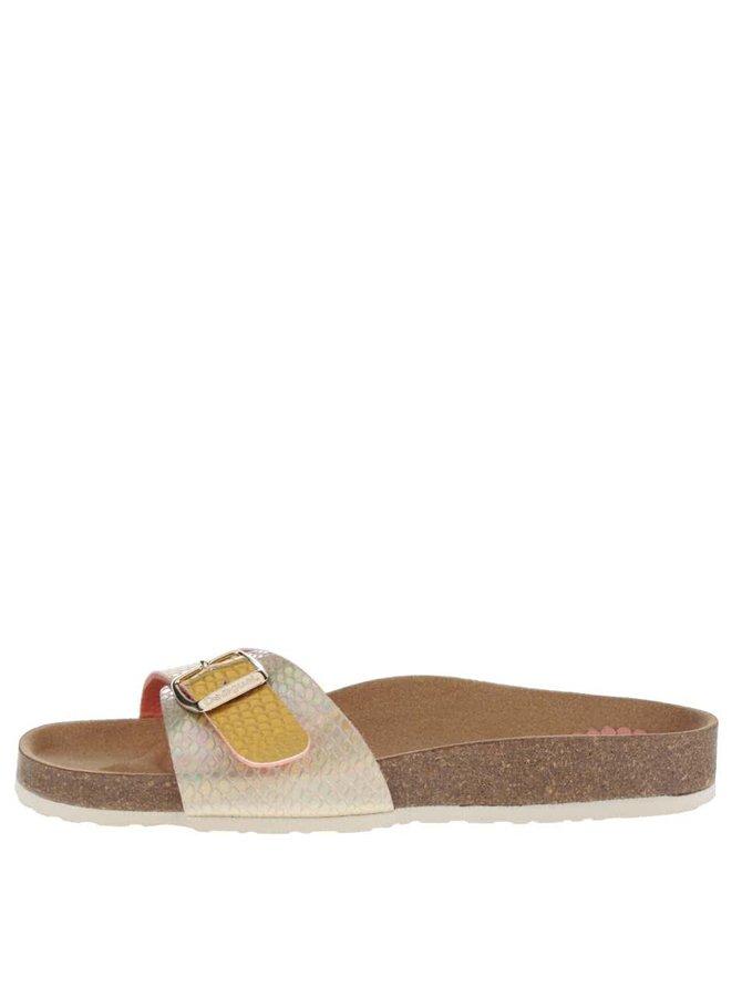 Metalické pantofle ve stříbrno-zlaté barvě Desigual Bio1