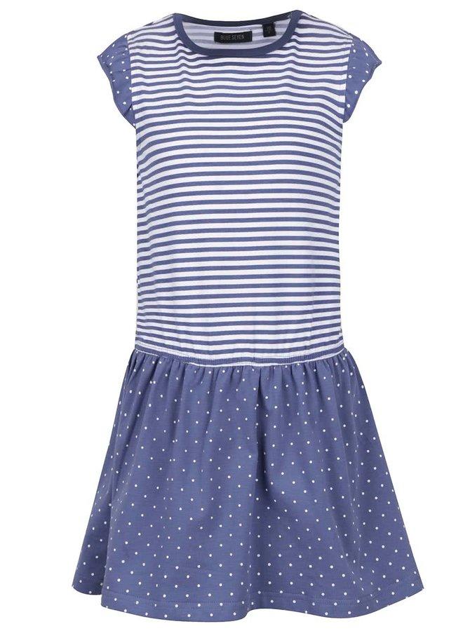 Modré holčičí pruhované šaty s puntíkovanou sukní Blue Seven