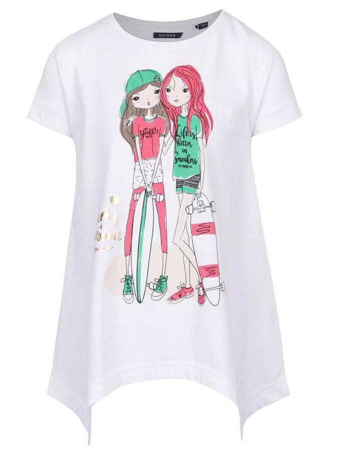 Bílé holčičí tričko s prodlouženými cípy Blue Seven