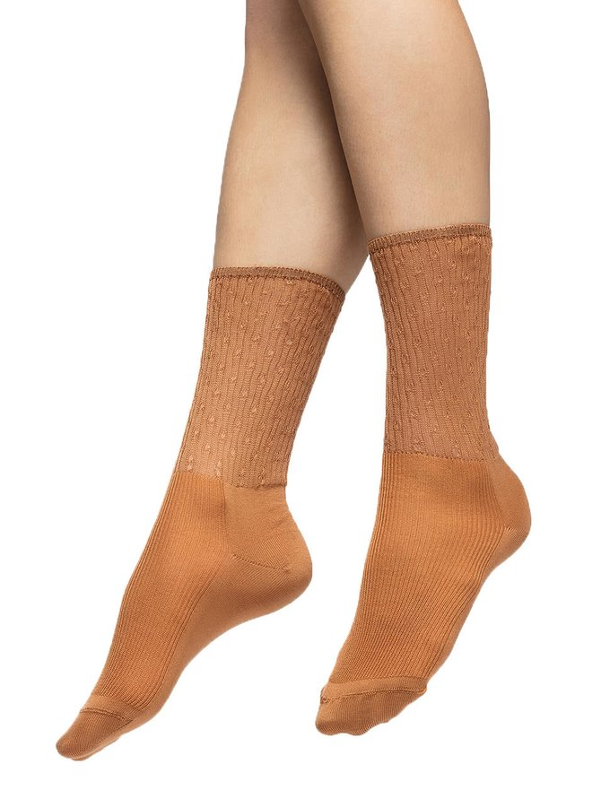 Hnědé ponožky s jemným vzorem Oroblu Select