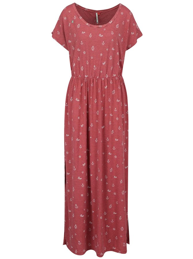Rochie maxi roșie Ragwear Arlene cu model în dungi