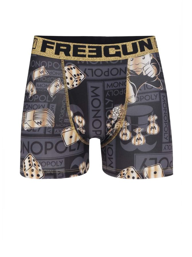 Tmavě šedé boxerky s potiskem Monopoly Freegun