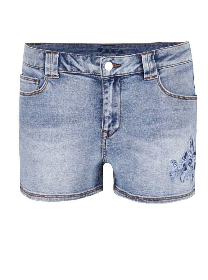 Modré džínové kraťasy s výšivkou VILA Demand