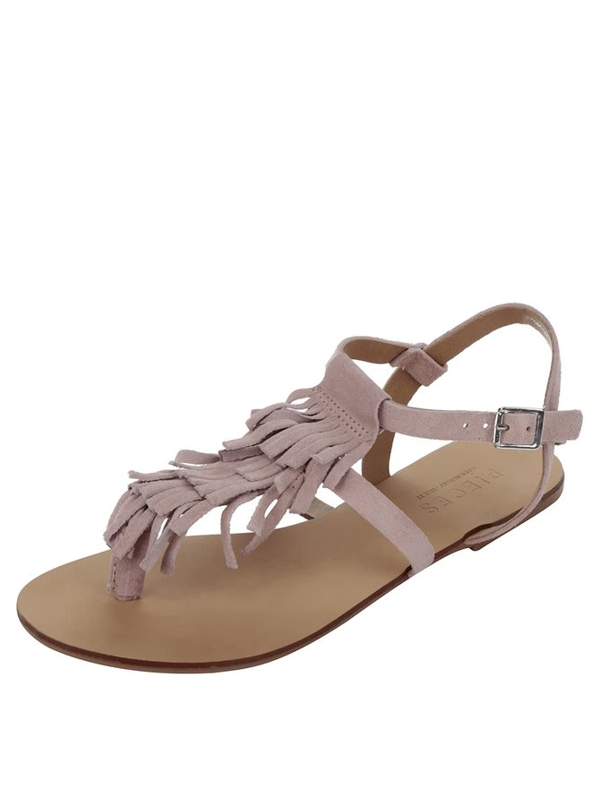 Světle růžové semišové sandály s třásněmi Pieces Berta