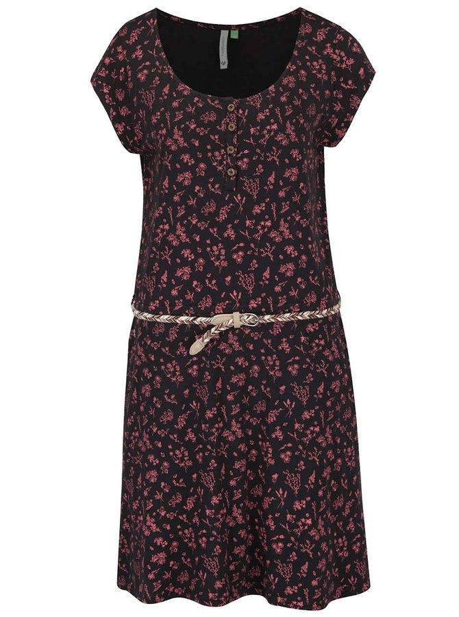 Černé květované šaty s páskem Ragwear Zephie A Organic