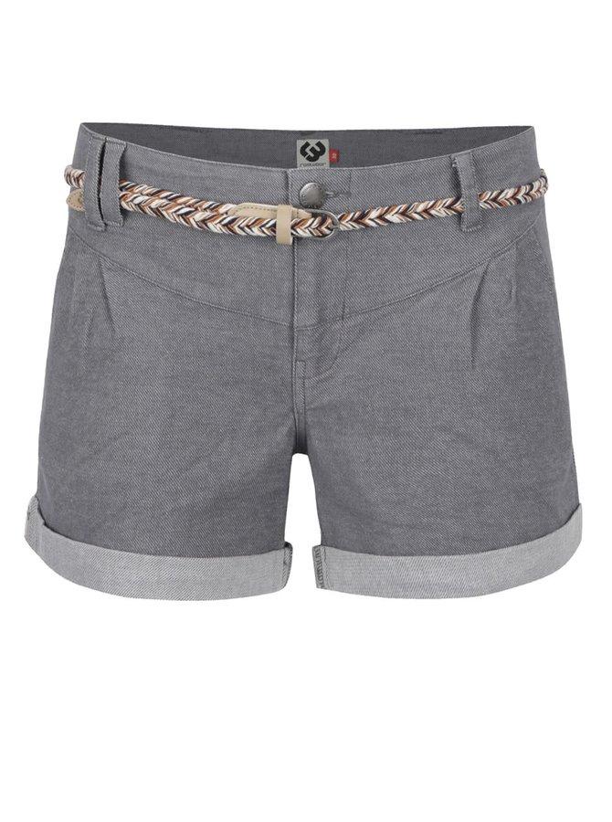 Pantaloni scurți gri deschis Ragwear Heaven din denim cu curea subțire
